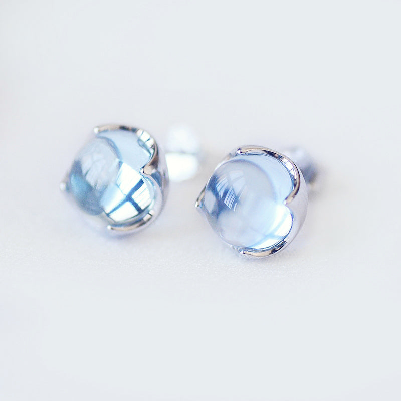 Blue Topaz Stud Earrings Silver November Birthstone Jewelry Accessories Women