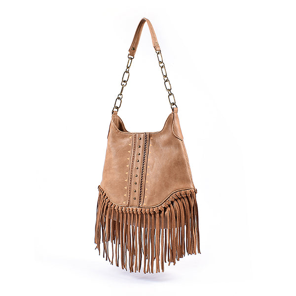 Boho Ladies Western Vegan Leather Purses With Suede Leather Fringe Shoulder Handbags for Women