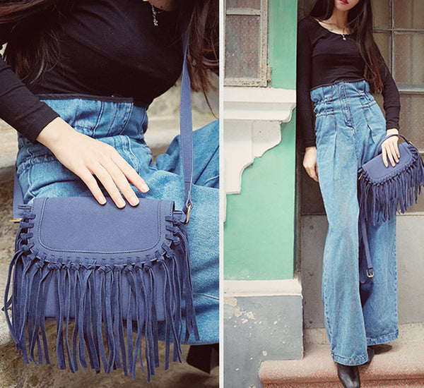 Boho Women's Vegan Leather Fringe Crossbody Sling Bag Purse Satchel Bag For Women Beautiful