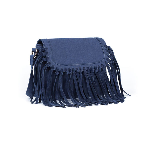 Boho Women's Vegan Leather Fringe Crossbody Sling Bag Purse Satchel Bag For Women Designer