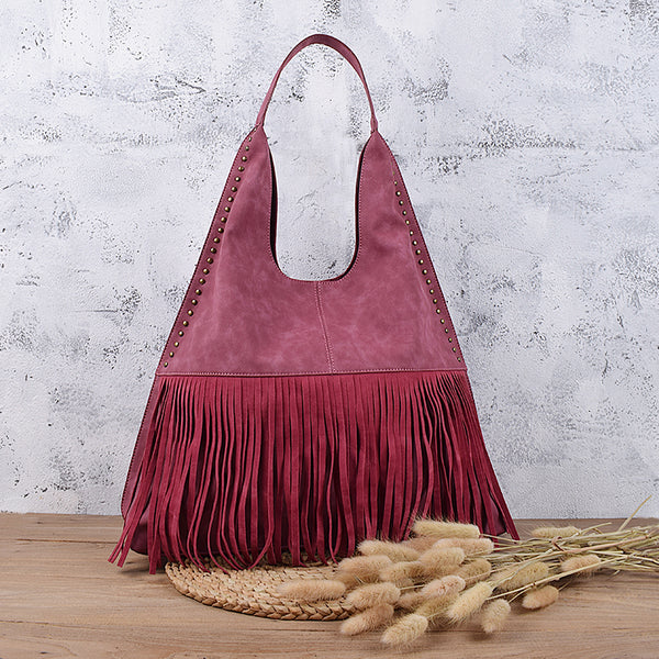 Boho Womens Fringe PU Leather Handbags Shoulder Purse  for Women Accessories