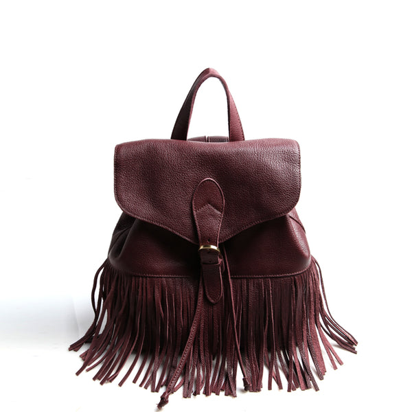 Boho Womens Leather Fringe Backpack Purse Hippie Backpack Bags for Women Affordable