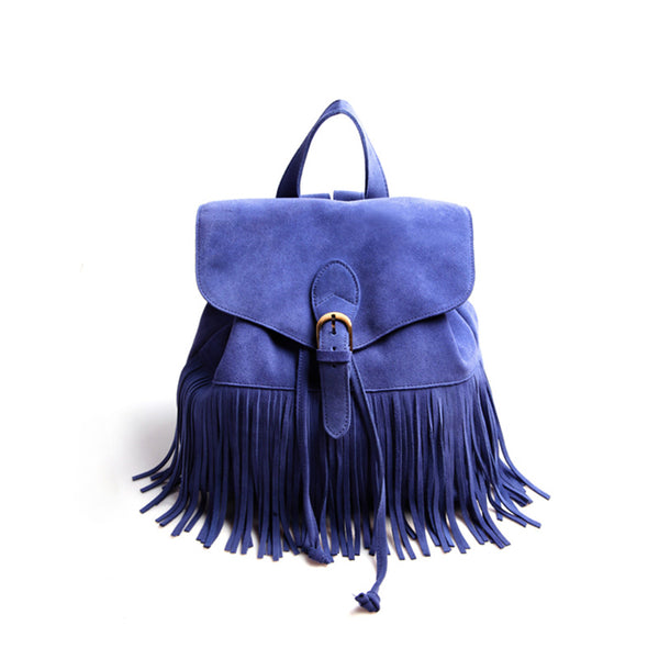Boho Womens Leather Fringe Backpack Purse Hippie Backpack Bags for Women Beautiful