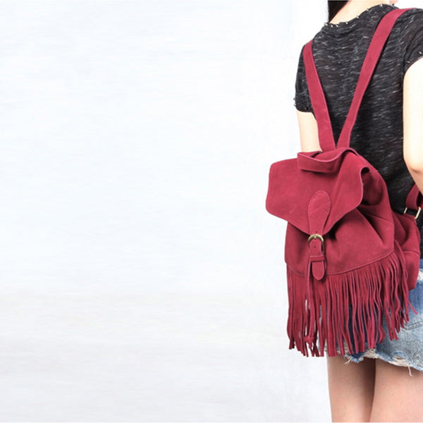 Boho Womens Leather Fringe Backpack Purse Hippie Backpack Bags for Women Chic