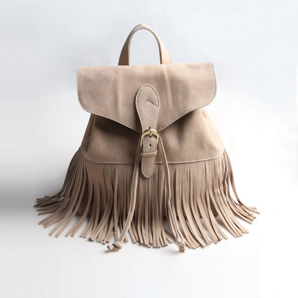 Boho Womens Leather Fringe Backpack Purse Hippie Backpack Bags for Women Cool