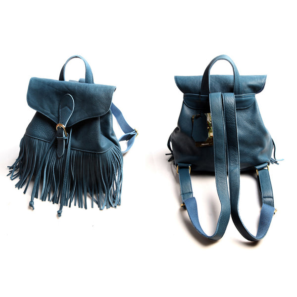 Boho Womens Leather Fringe Backpack Purse Hippie Backpack Bags for Women Cowhide