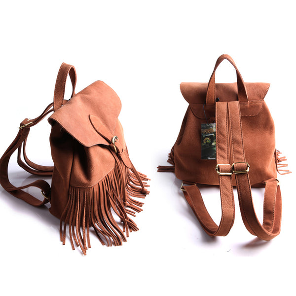 Boho Womens Leather Fringe Backpack Purse Hippie Backpack Bags for Women Handmade