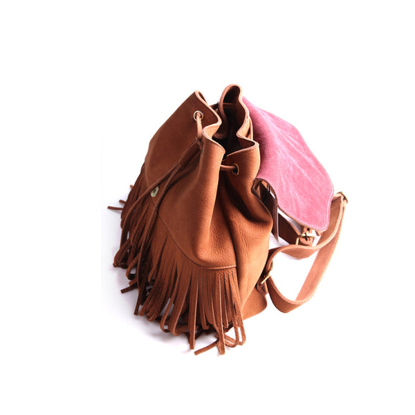 Boho Womens Leather Fringe Backpack Purse Hippie Backpack Bags for Women Original