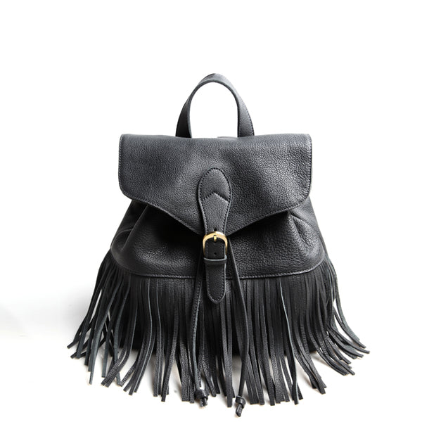 Boho Womens Leather Fringe Backpack Purse Hippie Backpack Bags for Women