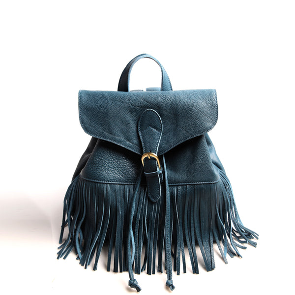 Boho Womens Leather Fringe Backpack Purse Hippie Backpack Bags
