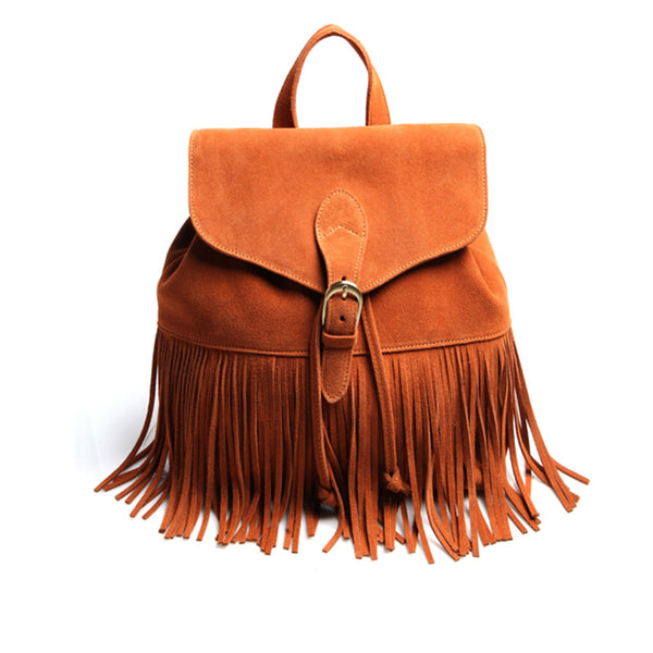 Boho Womens Leather Fringe Backpack Purse
