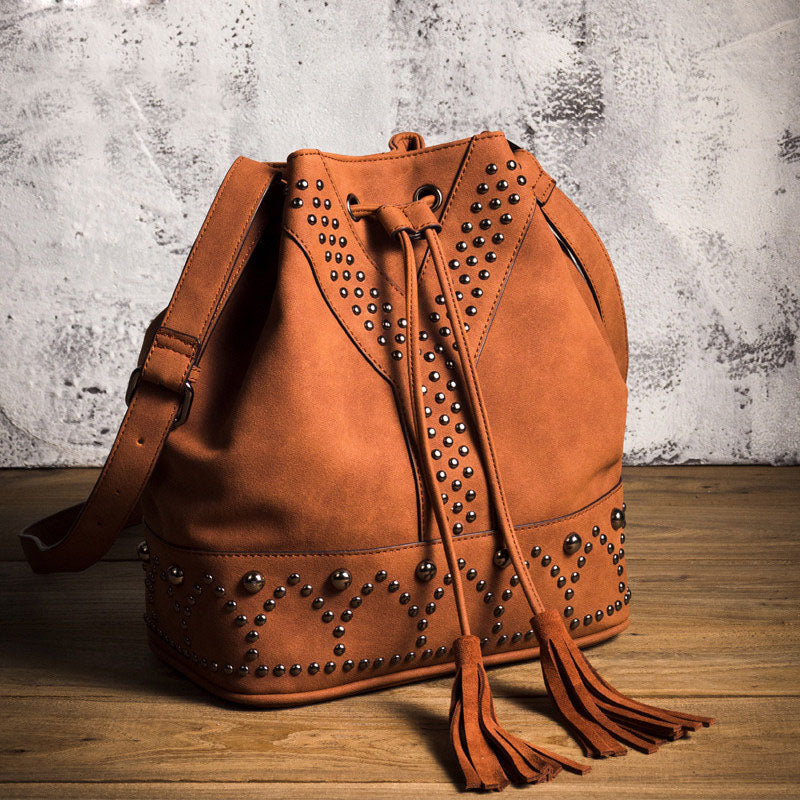 Boho Rivets Womens Vegan Leather Crossbody Bucket Bag With Fringe Accessories