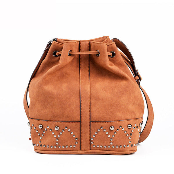 Boho Rivets Womens Vegan Leather Crossbody Bucket Bag With Fringe Affordable