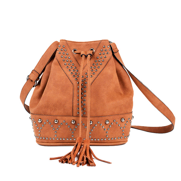 Boho Rivets Womens Vegan Leather Crossbody Bucket Bag With Fringe Best