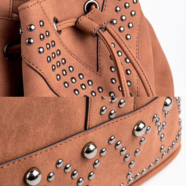 Boho Rivets Womens Vegan Leather Crossbody Bucket Bag With Fringe Details