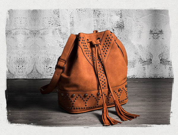 Boho Rivets Womens Vegan Leather Crossbody Bucket Bag With Fringe Fashion