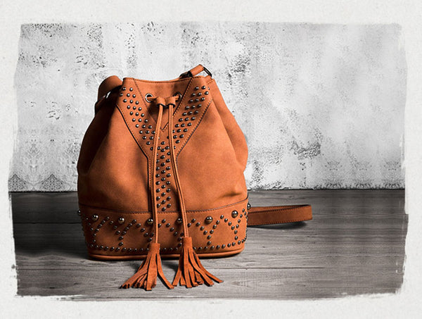 Boho Rivets Womens Vegan Leather Crossbody Bucket Bag With Fringe Genuine Leather