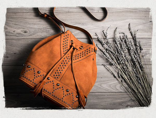 Boho Rivets Womens Vegan Leather Crossbody Bucket Bag With Fringe Gift