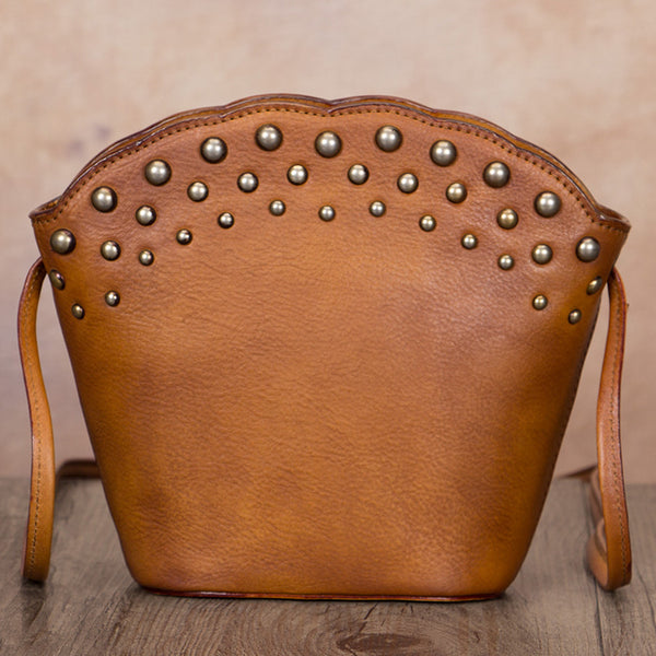 Boho Womens Rivets Genuine Leather Crossbody Bag Shoulder Purse For Women Accessories