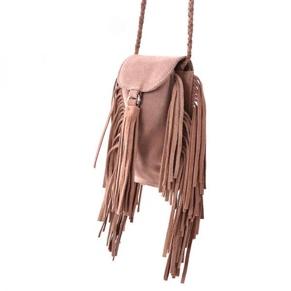 Boho Womens Small Western Leather Crossbody Fringe Purse Sling Bags for Women