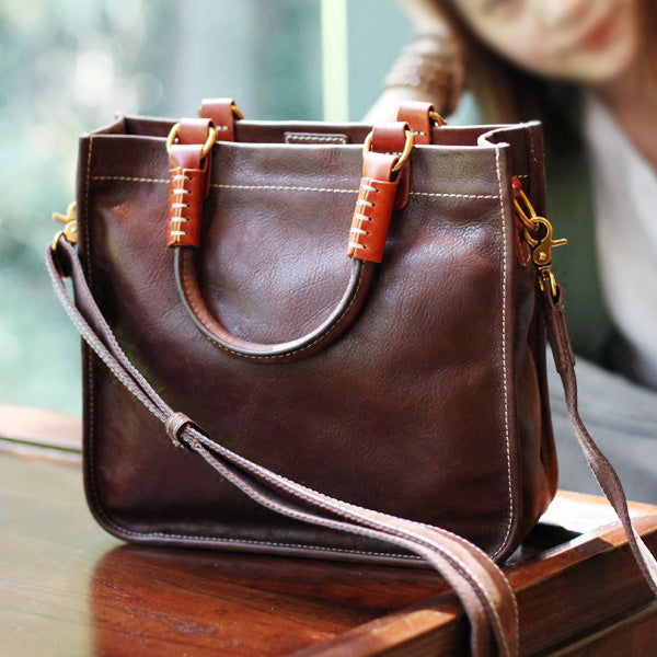 Brown Leather Totes Womens Unique Handbags Crossbody Bags for Women Accessories