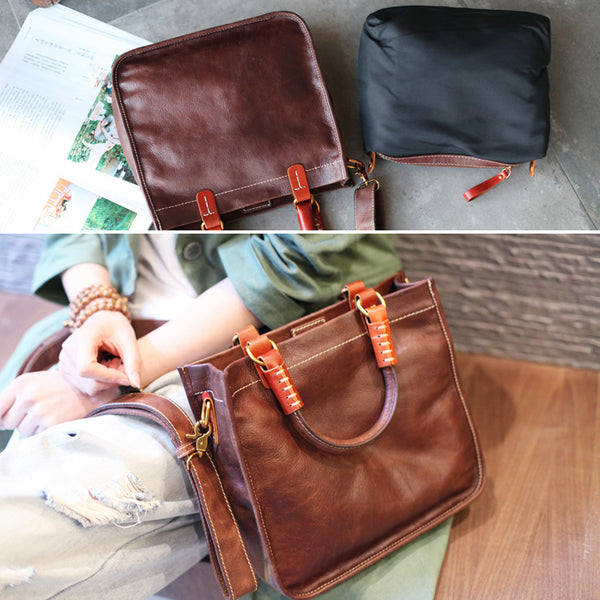 Brown Leather Totes Womens Unique Handbags Crossbody Bags for Women Designer