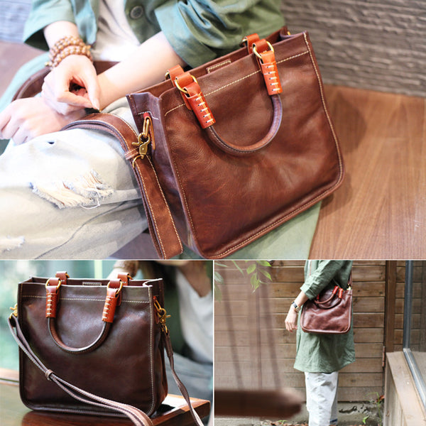 Brown Leather Totes Womens Unique Handbags Crossbody Bags for Women Genuine Leather