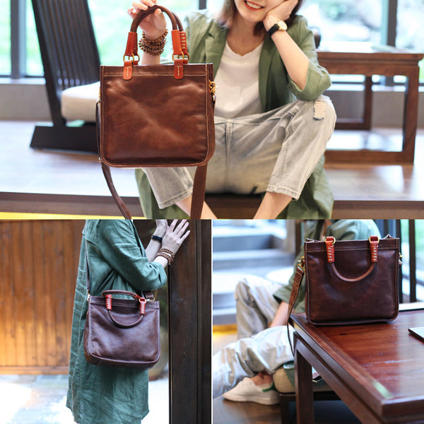 Brown Leather Totes Womens Unique Handbags Crossbody Bags for Women Handmade