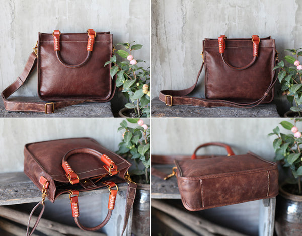 Brown Leather Totes Womens Unique Handbags Crossbody Bags for Women small