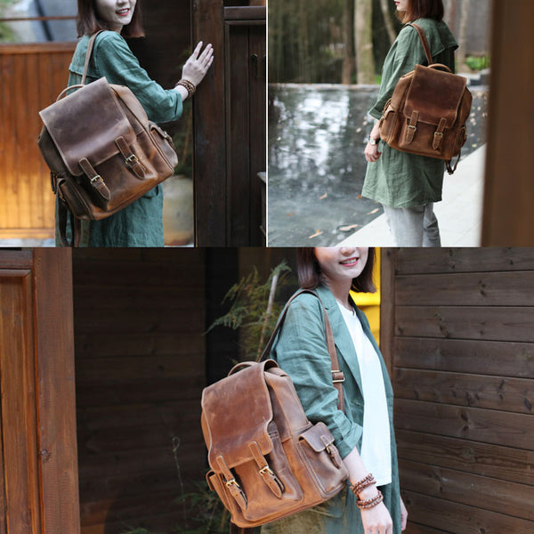 Brown Leather Womens Casual Backpack Purse Trendy Backpacks for Women Brown