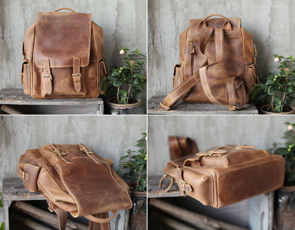 Brown Leather Womens Casual Backpack Purse Trendy Backpacks for Women fashion