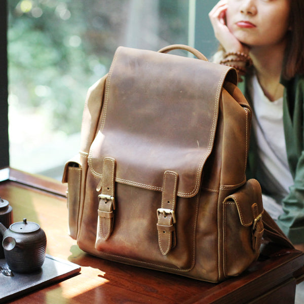 Brown Leather Womens Casual Backpack Purse Trendy Backpacks for Women Accessories