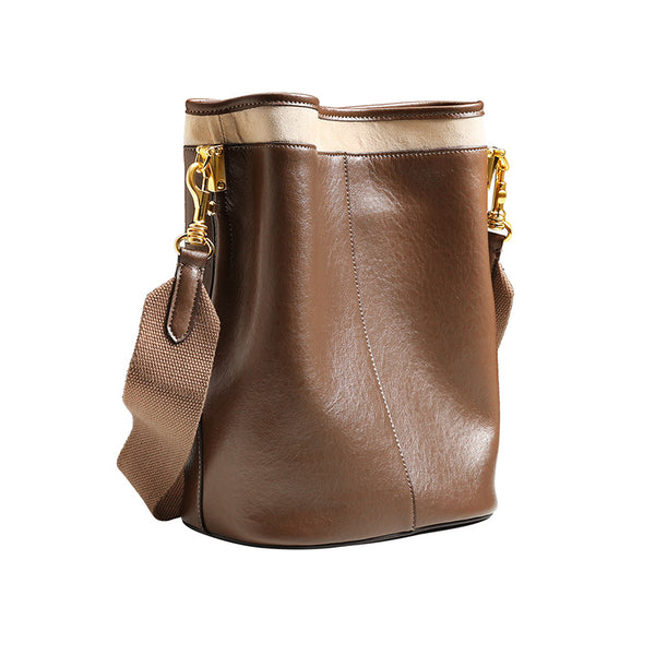 Brown Leather Womens Handbags Shoulder Bag Bucket Bag for Women