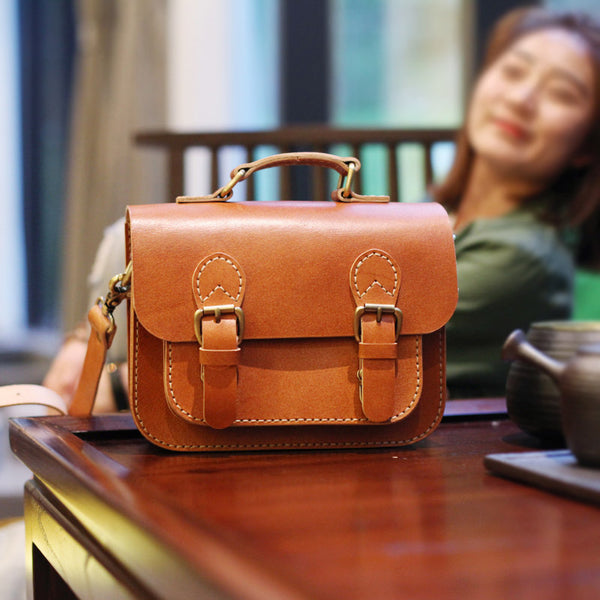 Brown Leather Womens Satchel Bag Handbags Crossbody Bags for Women Accessories