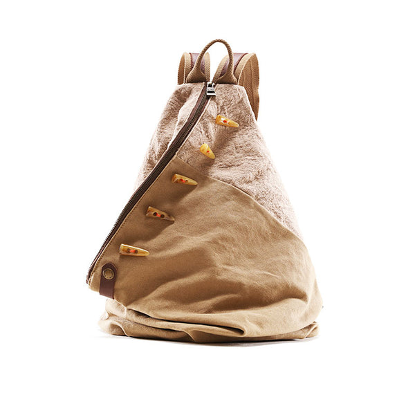 Brown Women's Cotton Canvas And Leather Backpack Rucksack Purse For Women Accessories