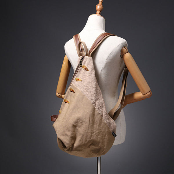 Brown Women's Cotton Canvas And Leather Backpack Rucksack Purse For Women Brown