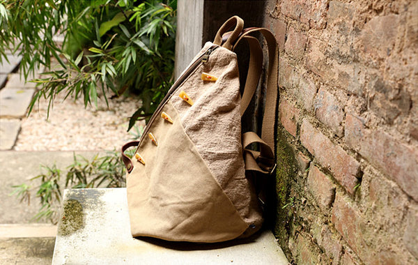 Brown Women's Cotton Canvas And Leather Backpack Rucksack Purse For Women Cool