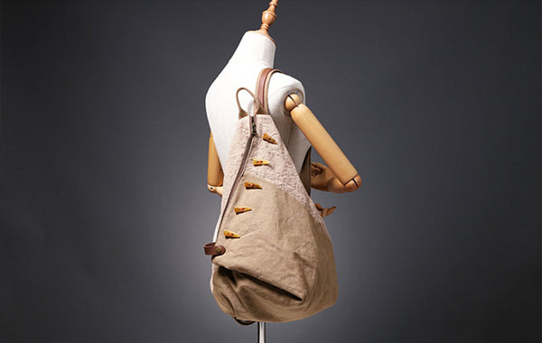 Brown Women's Cotton Canvas And Leather Backpack Rucksack Purse For Women Cute