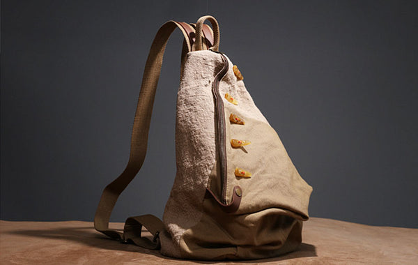 Brown Women's Cotton Canvas And Leather Backpack Rucksack Purse For Women Fashion