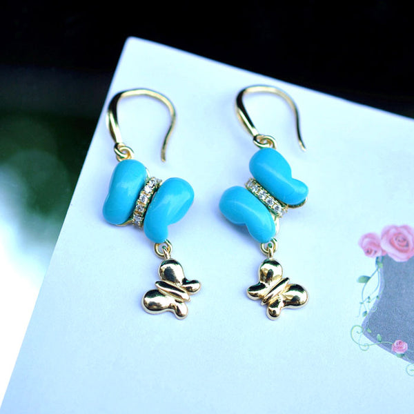 Butterfly Turquoise Drop Earrings Gold Silver Gemstone Jewelry Accessories Women cute
