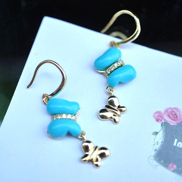Butterfly-shaped Turquoise Drop Earrings in 18K Gold Plated Sterling Silver Gemstone Jewelry Accessories Women