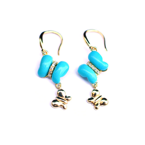 Butterfly Turquoise Drop Earrings Gold Silver Gemstone Jewelry Accessories Women