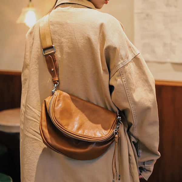 Casual Ladies Leather Over the Shoulder Bag Purse Side Bags For Women Brown