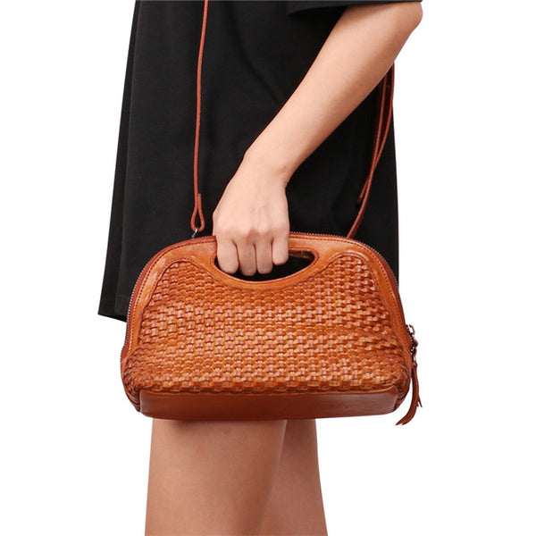 Boho Womens Woven Genuine Leather Satchel Handbag Side Bag Purse