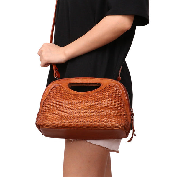 Boho Womens Woven Genuine Leather Satchel Handbag Side Bag Purse for Womens