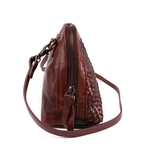 Boho Womens Woven Genuine Leather Satchel Handbag Side Bag Purse for Womens Brown