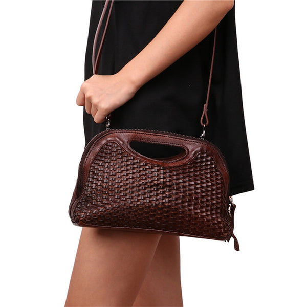 Boho Womens Woven Genuine Leather Satchel Handbag Side Bag Purse for Womens Cool