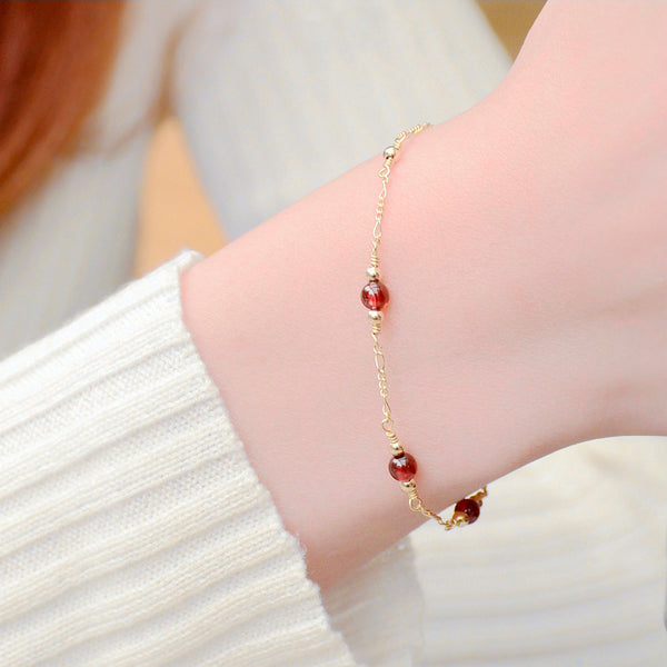 Charm Garnet Beaded Bracelets in 14K Gold Birthstone Jewelry for Women