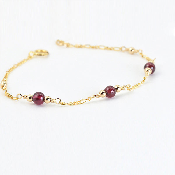 Charm Garnet Beaded Bracelets in 14K Gold Birthstone Jewelry for Women Boutique