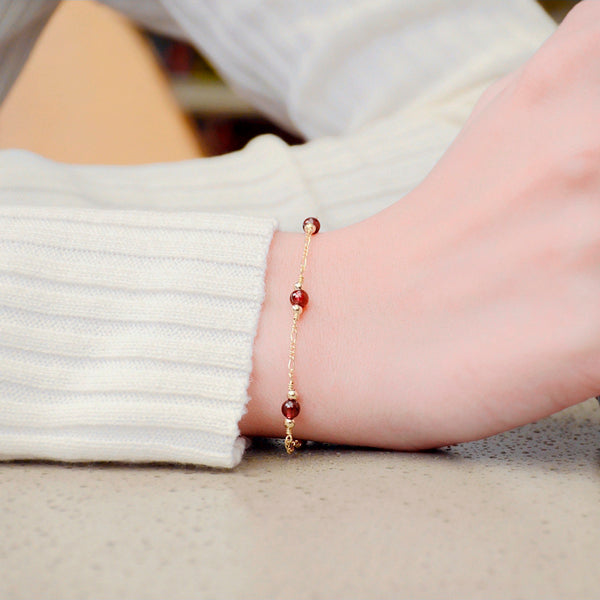 Charm Garnet Beaded Bracelets in 14K Gold Birthstone Jewelry for Women beautiful